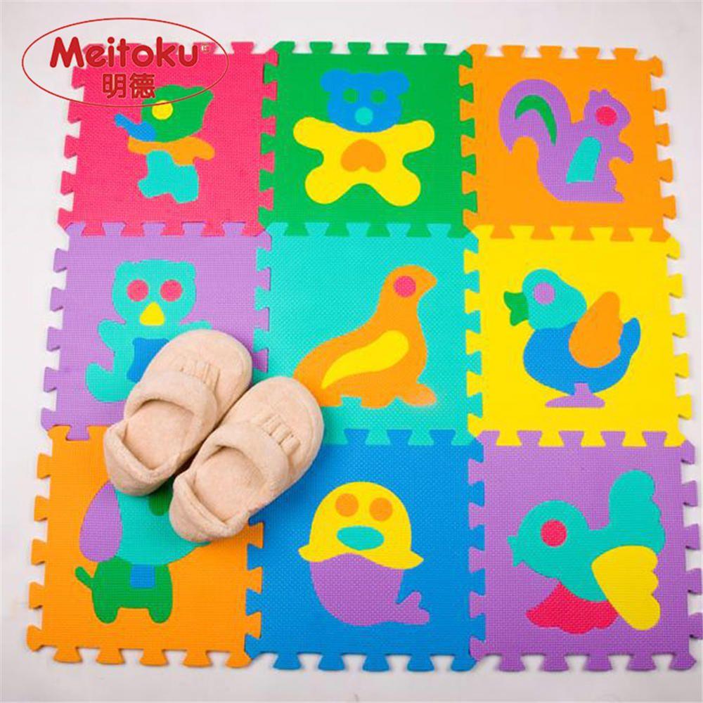 Meitoku EVA mousse bébé jouer Puzzle tapis de sol Animal verrouillage carreaux pad, chaque 32 cm X 32 cm = 12