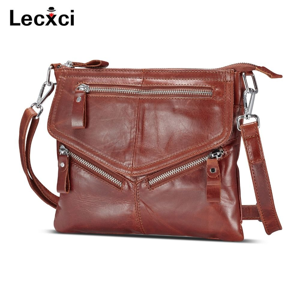 Lecxci women's soft genuine leather crossbody handbags ,women's handbag shoulder bag zipper travel crossbody bags purses women