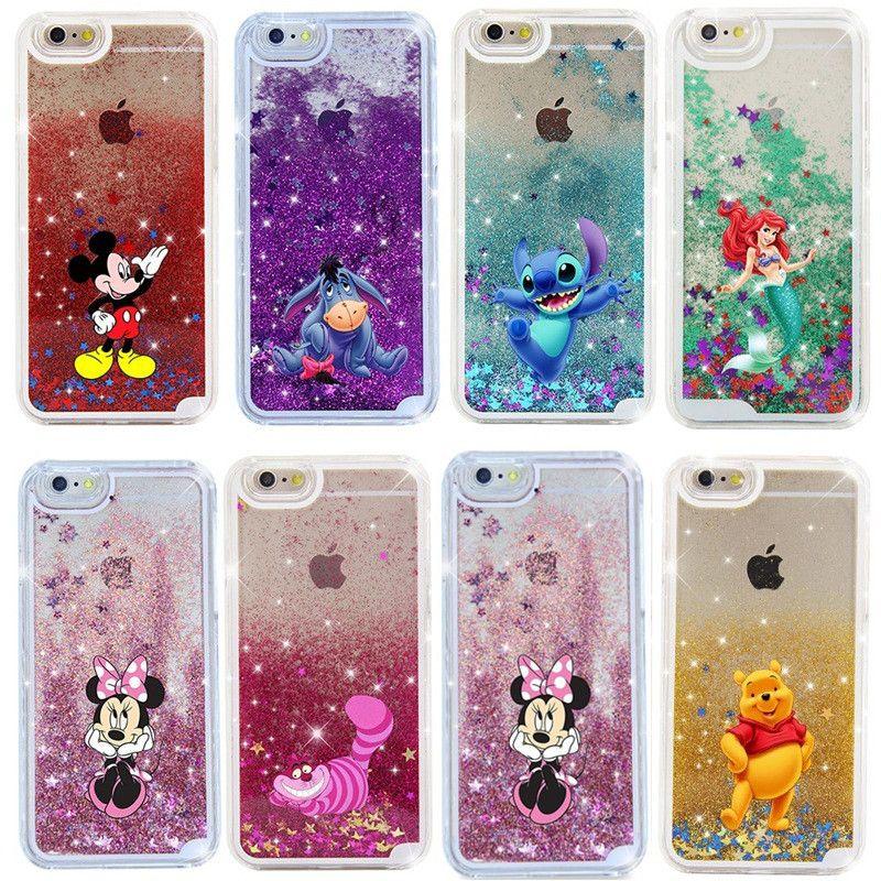 Flüssigkeit glitter quicksand 3d cartoon case für iphone 5 s se 6 6 s 6 splus 7 plus prinzessin meerjungfrau alice snow white kissen-abdeckungen capa ba667