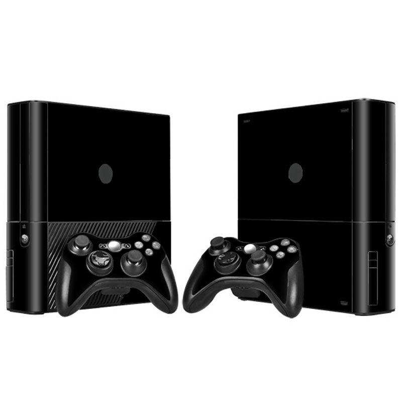Schwarz Farbe Haut Aufkleber für Microsoft Xbox 360 E und 2 controller