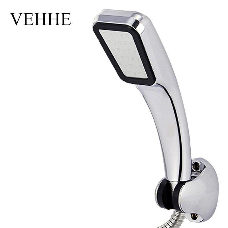 VEHHE High Pressure HandHeld Shower Head Chrome-Plate Panel Streamline Water Saving Square Bathroom 300 Holes Shower Head VE223