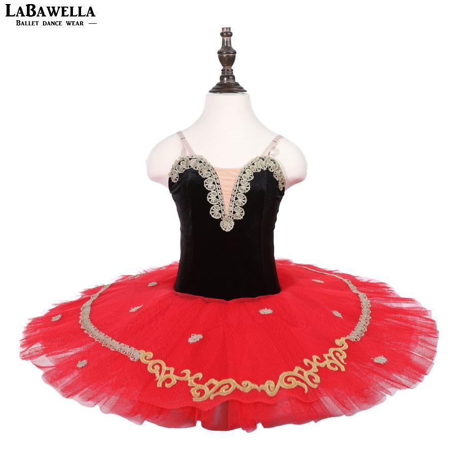 New Sequin Pre-Professional Ballet Tutu Skirt Black Red Child Adult Don Quixote Ballet Tutu Costumes Girls Pancake TutuBLST18007