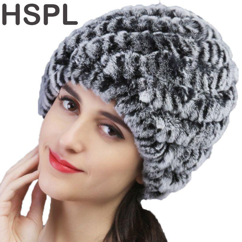HSPL Fur Hat Guarantee 100% Natural Genuine Rex Rabbit Fur Cap Knitted Hats For Winter Women Beanies bone Warm Pineapple Cap