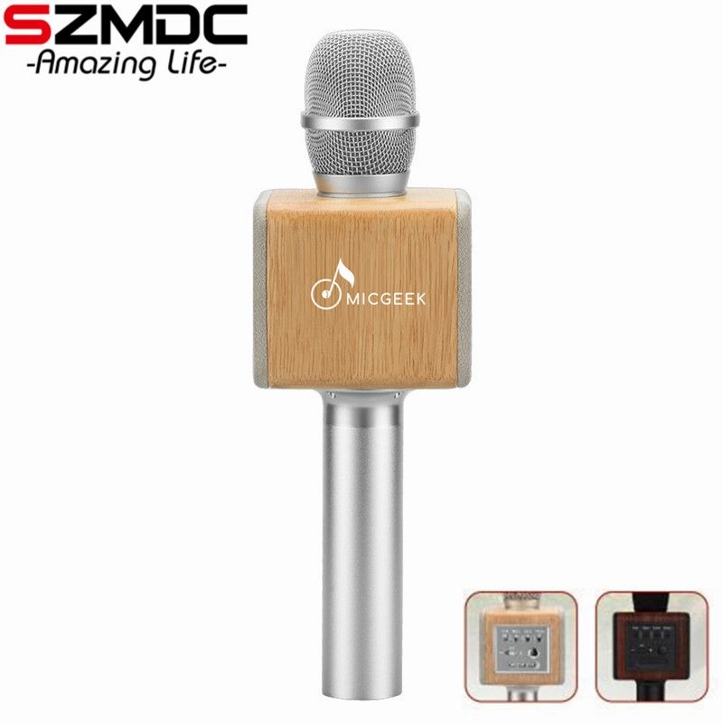 Original brand MicGeek ELF 3D Wireless Karaoke Microphone 2.1 Sound Track Natural Rosewood DSP Chip Voice Speakers Smartphone