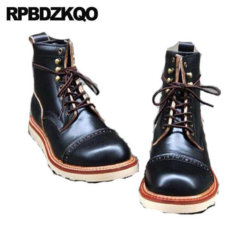 Booties Designer Stiefel Retro Vintage Kurzen Herbst Schwarz Handgemachte Echte Leder Männer Brogue Plus Größe männer Schuhe Ankle Volle korn