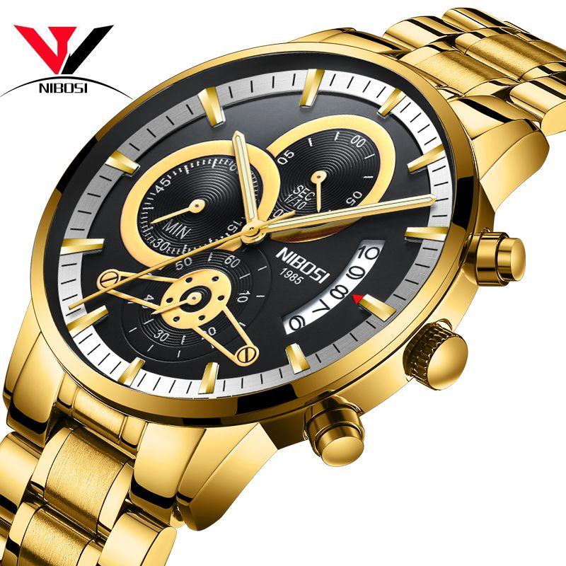 NIBOSI Relogio Masculino montre hommes or et noir hommes montres Top marque luxe sport montres 2019 Reloj Hombre étanche