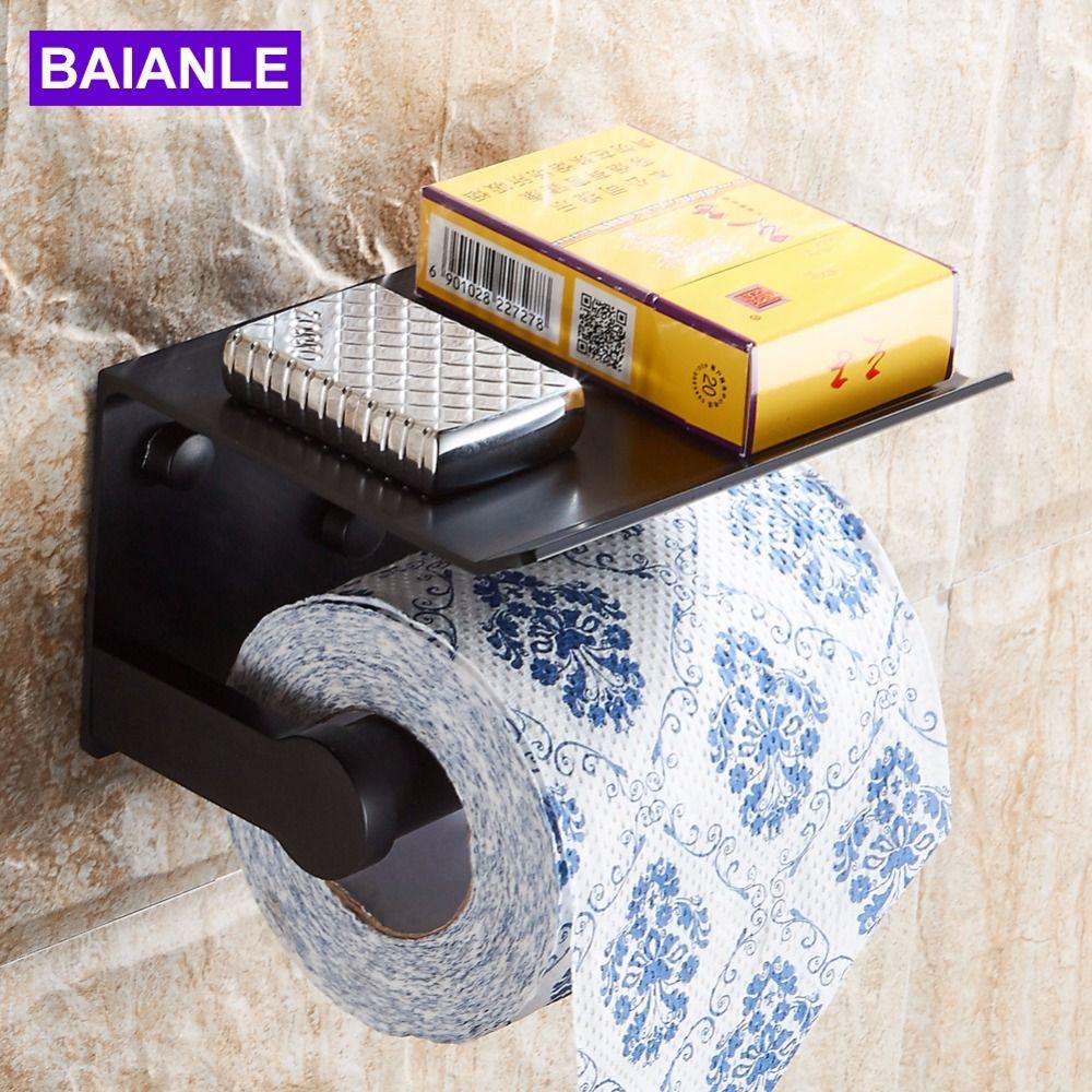 Free shipping Wall Mounted Space Aluminum Black/Golden Paper Towel Shelf Phone <font><b>Toilet</b></font> Paper Holder