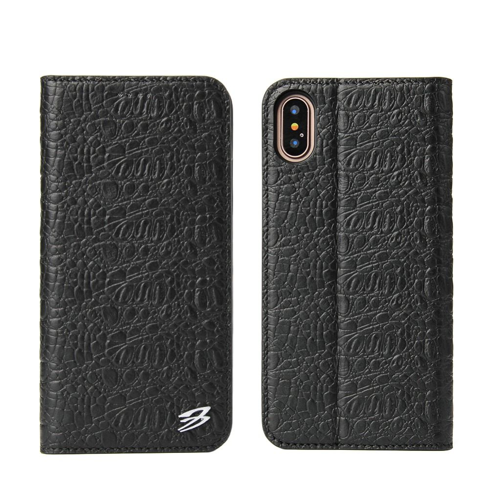Case for iPhone 8 6 6S 7 Plus Genuine Leather Luxury Crocodile Flip Style Case for Phone X Clamshell Card Slot Cover Shell Case