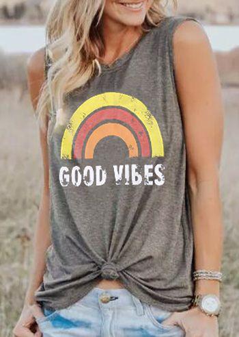 Plus Size Summer Tank Tops Women Good Vibes Print Gray O-Neck Tank Female Casual Loose Vest 2018 Sleeveless Ladies Tops Tee 3XL