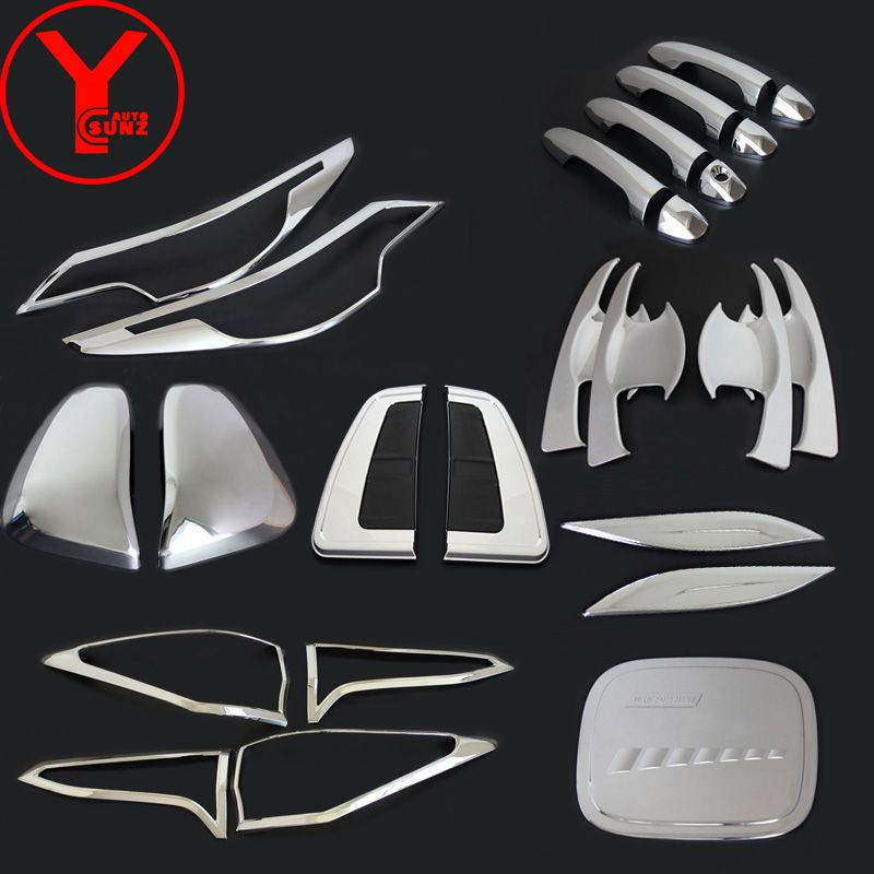 chrome car trims For Toyota Fortuner AN160 HILUX SW4 2015 2016 2017 mirror headlight door handle protectors accessories YCSUNZ