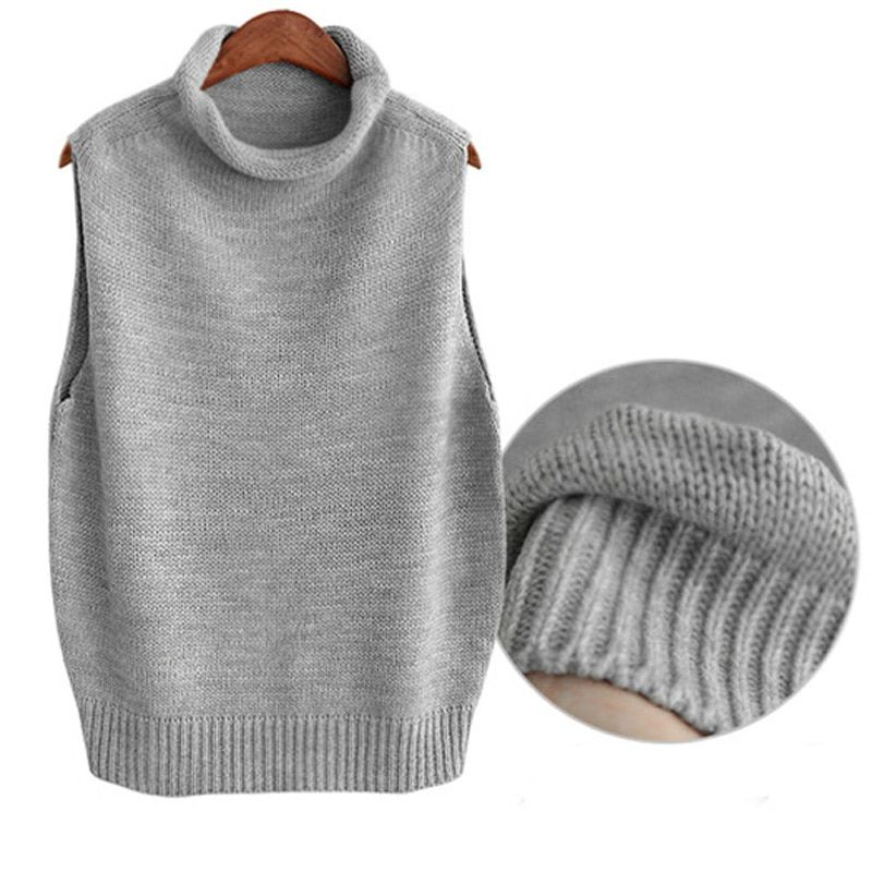 Women's Roll Turtleneck Knit Vest Tops Sleeveless Pullover Fashion Casual New all match Women Clothing Female Swaeter Vest