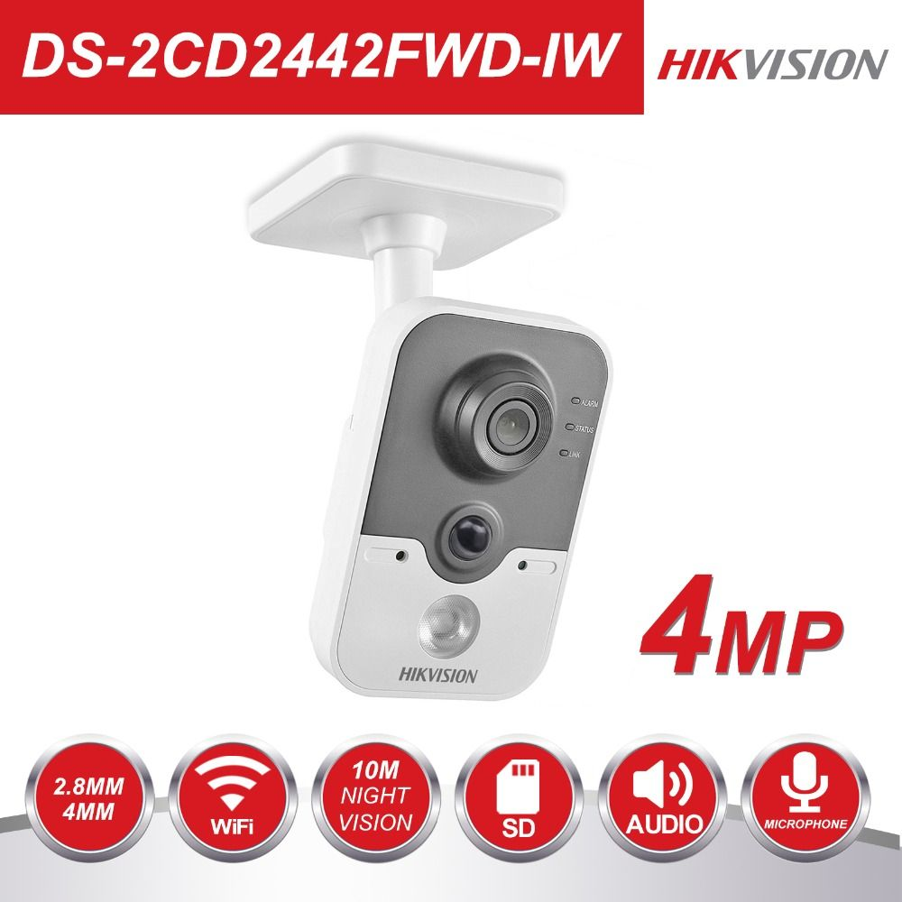 Hikvision Wireless IP Camera 1080P DS-2CD2442FWD-IW 4MP Indoor IR Cube WiFi Home Security Camera Remote View Support