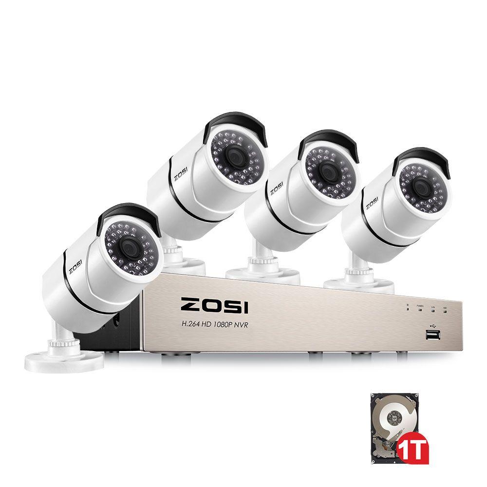 ZOSI Neue 1080 p (1920x1080 p) POE Video Security System und (4) 2-Megapixel Outdoor Kugel IP Kameras mit 100ft Nachtsicht