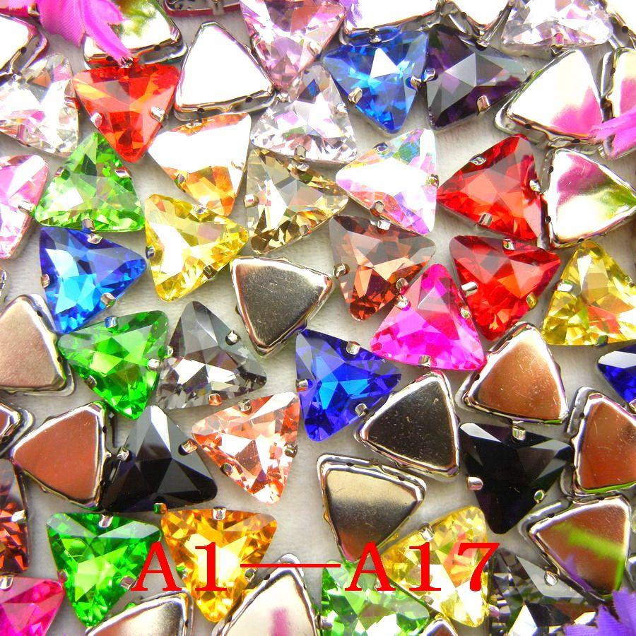 [A1-A17] Argent griffe 18mm 20 pcs belles couleurs Triangle forme Verre Cristal Coudre sur strass perles vêtements diy