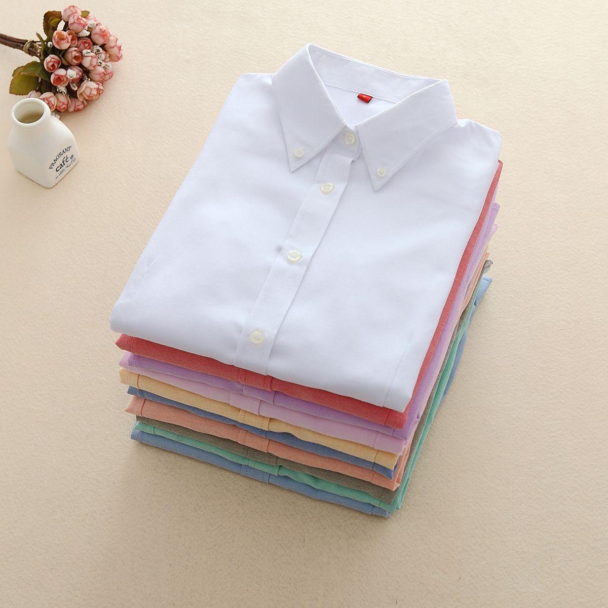 FEKEHA chemisiers pour femmes 2019 à manches longues Oxford Dames hauts Bureau à manches longues Chemises Femmes Étudiant Blusas Camisas Mujer