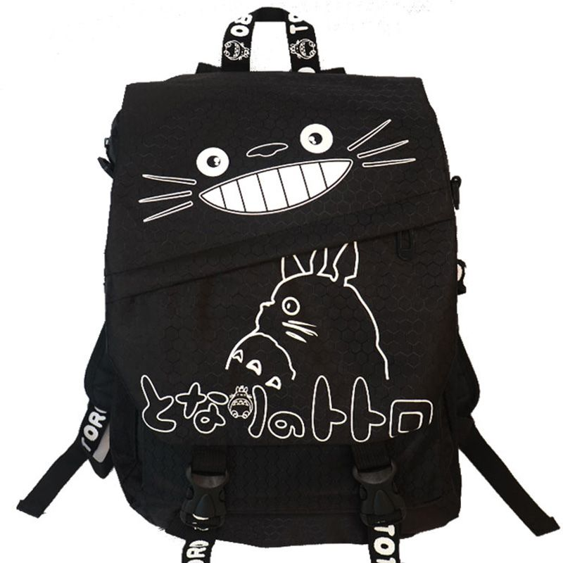 Hayao Miyazaki Totoro Bag Anime Backpack School Bags 2016 Oxford Cartoon <font><b>Book</b></font> Bookbag Teenagers My Neighbour Totoro Printed