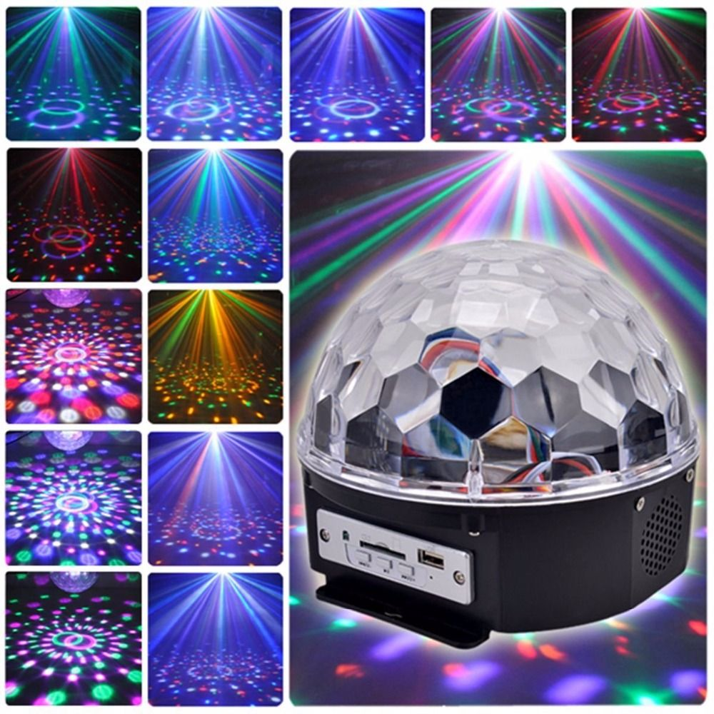 Aimbinet 6 LED con reproductor de MP3 Del Disco de Dj Etapa de Iluminación 18 W LED RGB Crystal Magic Ball Efecto de Luz KTV Navidad Fiesta de La Boda mostrar
