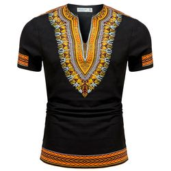 2017 summer autumn mens African clothing dashiki clothes knitting stitching Batik printing short sleeve tops man T shirt