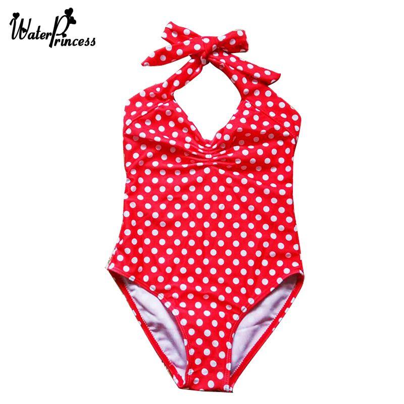 Wasser Prinzessin Bikini 2017 Schöne Red Dot Niedlichen Babys Kinder Strippy Badeanzug Badebekleidung Beachwear Bathingsuit