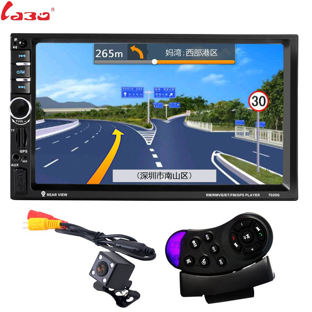 LaBo 7'' 2 Din Car Radio Multimedia Player GPS Navigation Camera Bluetooth MP4 MP5 Stereo Audio Auto steering-wheel Free Map