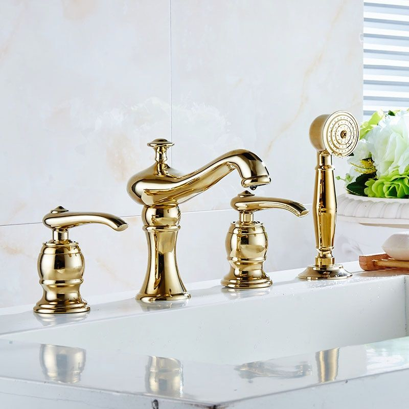 New Brass Deck Mounted 4 PCS Bathroom Bathtub Faucet Mixer Taps Cold Hot Water tap With Handheld Shower Head Chrome Gold 2310372