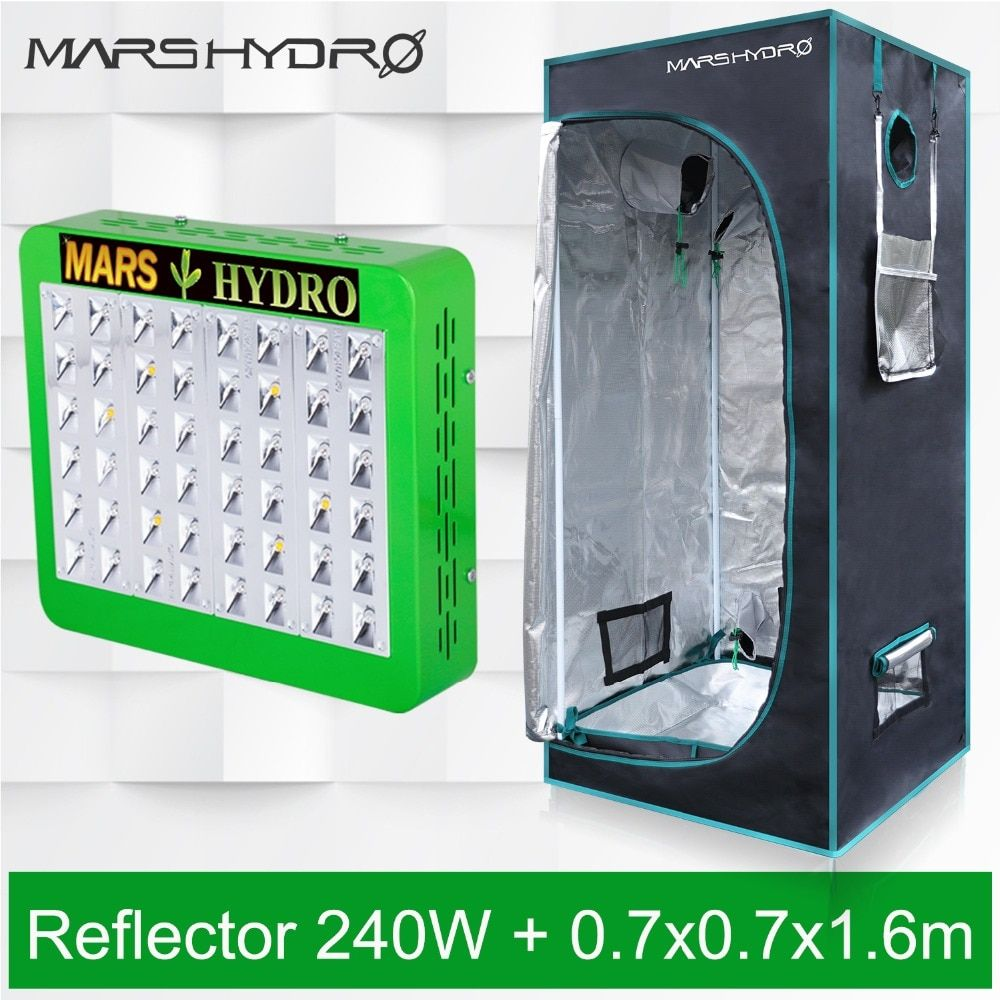 Mars Hydro Reflector 240W LED Grow Light Panel Hydro+70x70x160 Indoor Grow Tent Kit for indoor plants growing veg flower