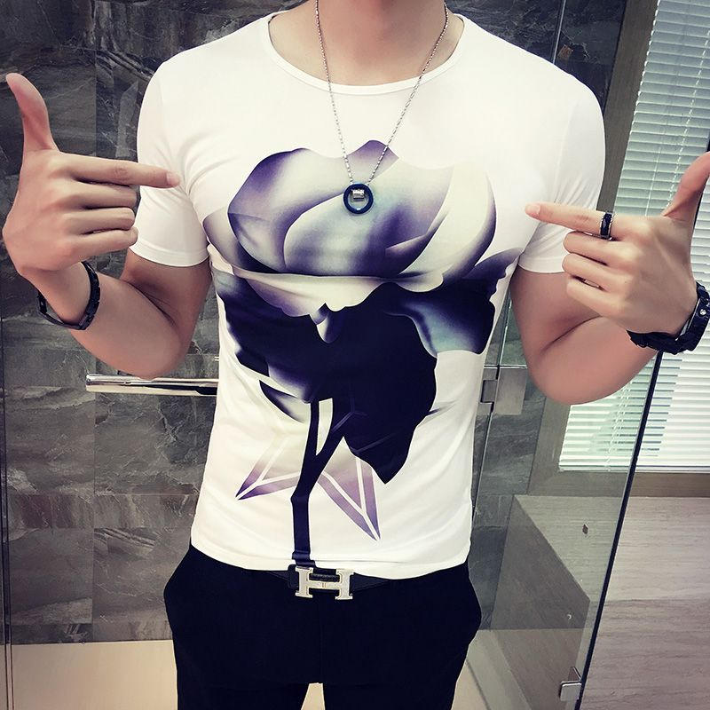 Tight t-shirt male personality print o-neck t shirt slim male short-sleeve t trend clothes
