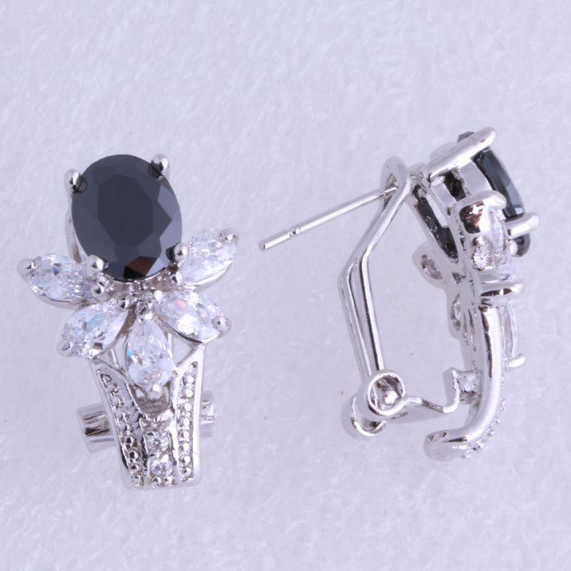 Monologue d'amour Top qualité fleur Style noir Imitation Onyx blanc cubique zircone argent couleur Clip boucles d'oreilles J0554 livraison gratuite