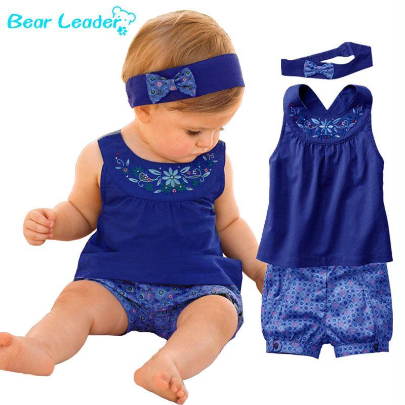 Bear Leader/2018 Новый Модная одежда для детей, Детская Мода Vestidos Костюмы Baby платок + платье без рукавов + зонтик плед брюки Одежда для малышей для 6-24...