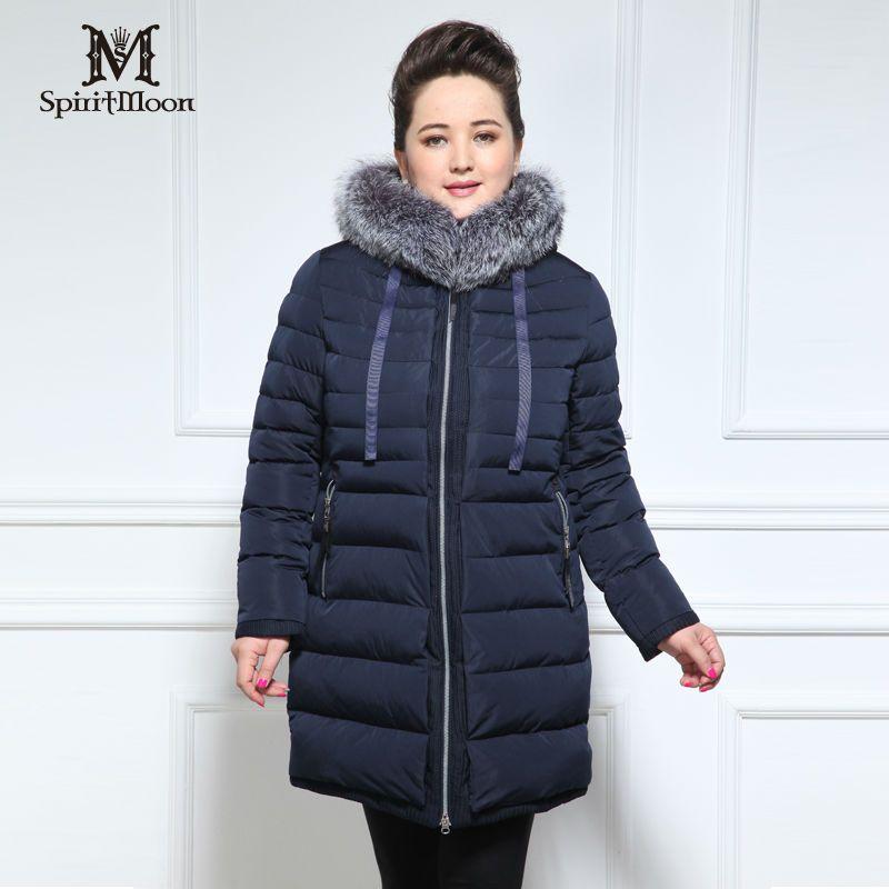 SpiritMoon Marke frauen blusen Verlängern Winter Jacken fuchspelz plus größe frauen kleidung daunenjacke Bio Flaum Dicken Baumwolle Frau