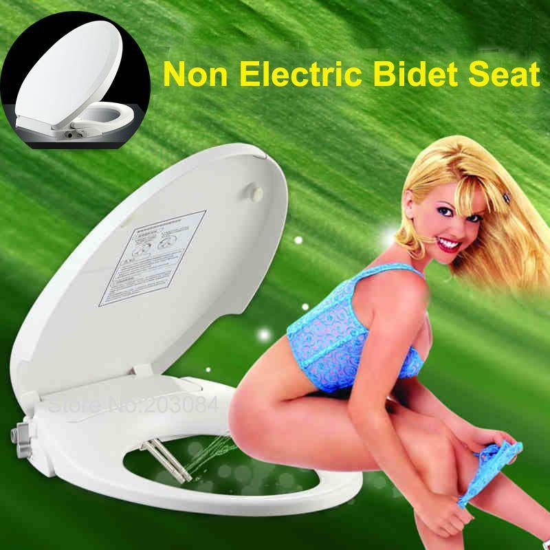 Siège de toilette Bidet Non électrique grabbent double buses-siège de Bidet de salle de bain avec pulvérisateur-rond/allongé/forme européenne D/forme U