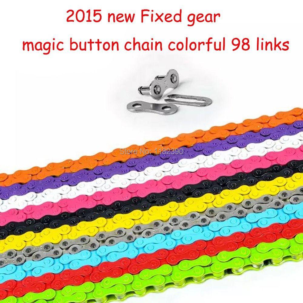 2015 nouveau pignon Fixe piste vélo chaîne de bicyclette de vitesse unique bouton magique chaîne coloré 98 liens CZC004