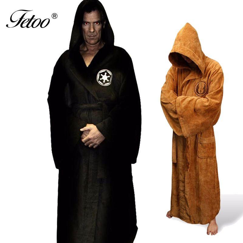 Flanelle Robe Masculine Avec À Capuche Star Wars Robe de Chambre Peignoir de Jedi Empire Long et Épais Hommes Chemises de Nuit Robe De Bain Pour Hommes hiver