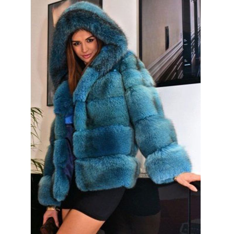 FURSARCAR Fashion Real Fur Coat Women Short Style Genuine Leather Fox Fur Coat High Quality Winter Warm Fox Fur Coat With Hood