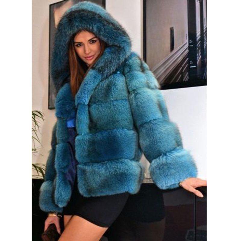 FURSARCAR Mode Echt Pelzmantel Frauen Kurz Stil Aus Echtem Leder Fuchs Pelzmantel Hohe Qualität Winter Warme Fuchs Pelz Mantel mit Haube