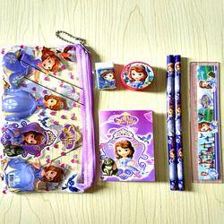 Cute Sofia Princess stationery set for kids Kawaii pencil case for children ruler eraser memo pads estojo Office School Supply