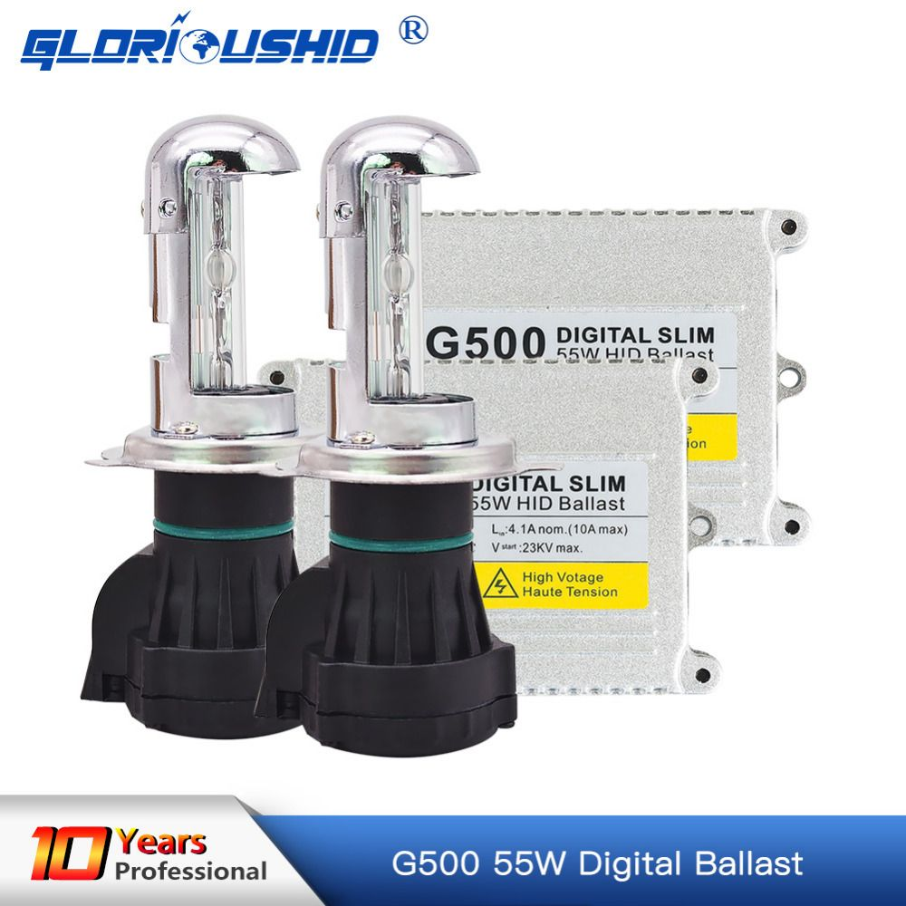 One set Xenon h4 bi xenon hid kit AC 12V 55W H4 Bixenon lamp Hi/lo beam bulb 4300k 5000k 6000k 8000k kit xenon h4 bixenon