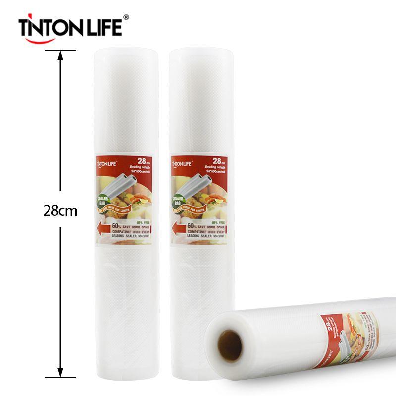 TINTON LIFE 28 CM x 500 CM rouleaux sous vide thermoscelleur sacs d'économie alimentaire sacs de stockage alimentaire emballage Saran