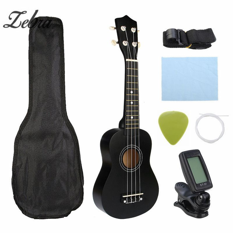 Zebra Guitar Combo 21 Black Soprano Ukulele Uke Hawaii Bass Guitar Guitarra Musical <font><b>Instrument</b></font> Set Kits+Tuner+String+Strap+Bag