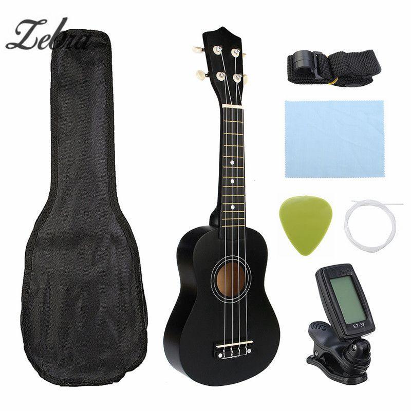 Zebra Guitar Combo 21 Black Soprano Ukulele Uke Hawaii Bass Guitar <font><b>Guitarra</b></font> Musical Instrument Set Kits+Tuner+String+Strap+Bag