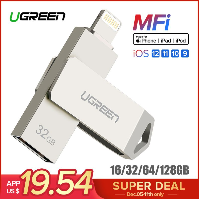 Ugreen USB Flash Drive USB Pendrive for iPhone Xs Max X 8 7 6 iPad 16/32/64/128 GB <font><b>Memory</b></font> Stick USB Key MFi Lightning Pen drive