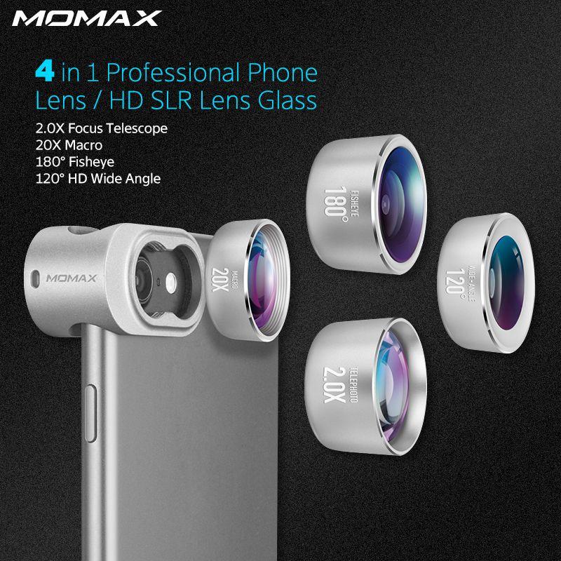 Momax 4 en 1 Téléphones Mobiles Avant Arrière Fisheye Kits Macro Grand Angle Caméra Lentes lentille de Caméra de Téléphone pour iPhone 5 6 7 8 6 s Plus