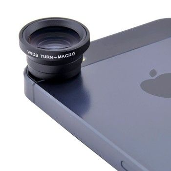 3 in 1 Magnetic Fisheye Mobile Phone Lens + Wide Angle + Macro For iPhone 5 6 Plus Samsung LG Sony Universal All Phones V01