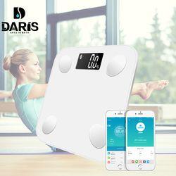 SDARISB Bluetooth Digital peso corporal Báscula de baño inteligente pantalla retroiluminada Escala de peso corporal grasa corporal agua masa muscular IMC