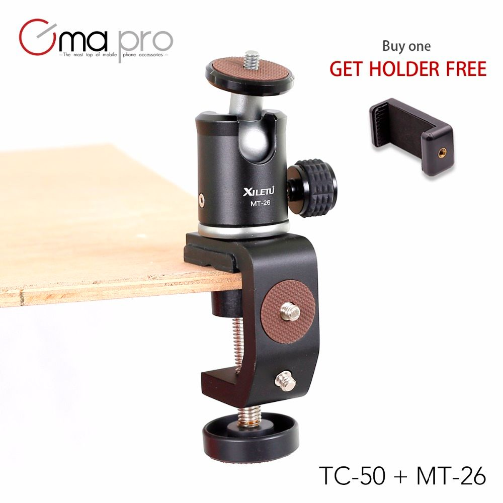 CimaPro TC-50MT-26 Multifunction Clip Tripod Monopod Ball Head Fixture Clamp for Smartphone Digital Camera GoPro With 1/4' Screw
