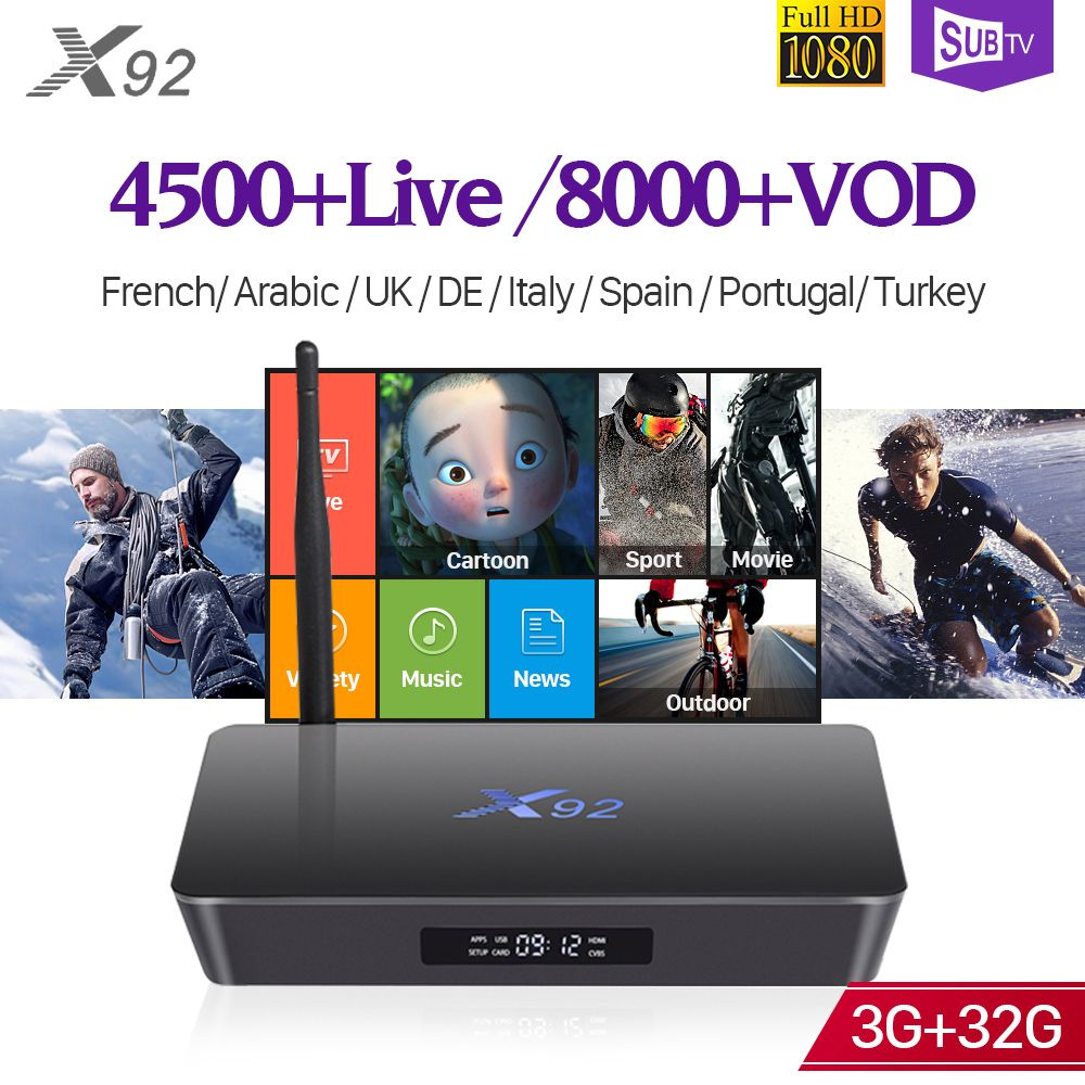 IPTV Französisch X92 Android 7.1 Smart TV Box 3 gb 32 gb S912 SUBTV IPTV Code 1 Jahr IPTV Europa Spanien frankreich Kanada Arabisch IP TV Box