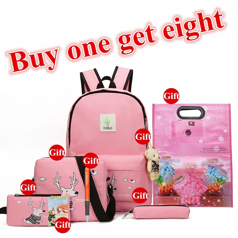 2018 New Girls Backpacks Cartoon Printing School Backpack Cute Canvas Teenager Schoolbags For Girls Students Lovely Bag Children