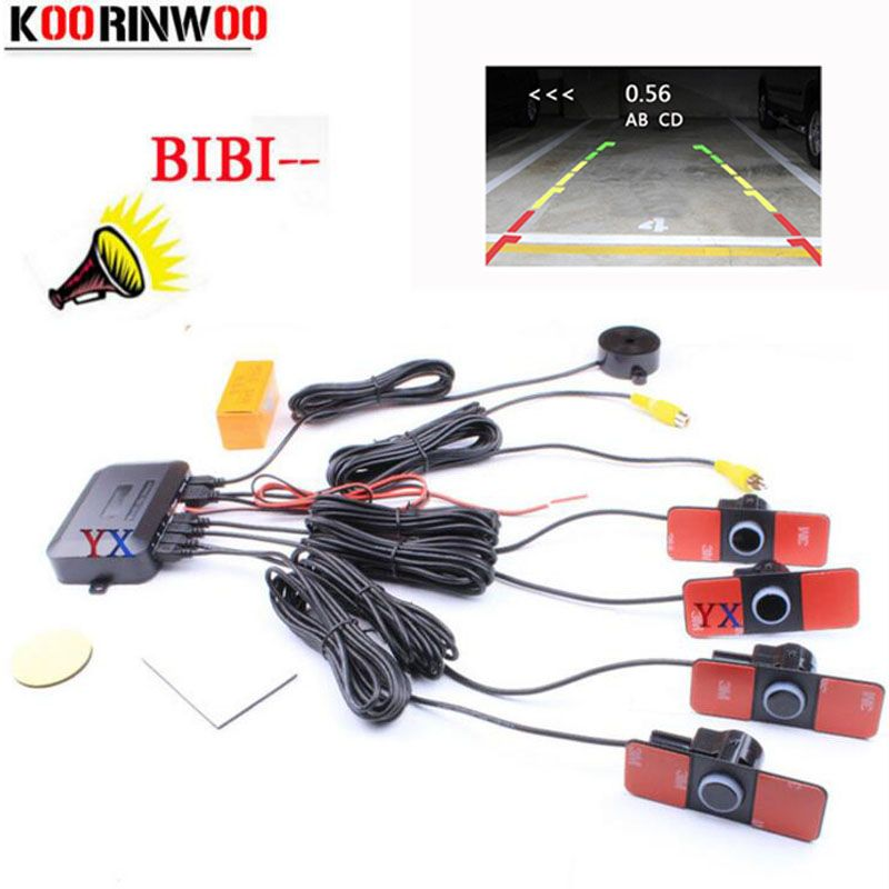 Koorinwoo D'origine Parktronic Dual Core Vidéo De Voiture Parking Capteur 4 Système De Sauvegarde Radar Alarme Sonore Vidéo Système Visible Distance
