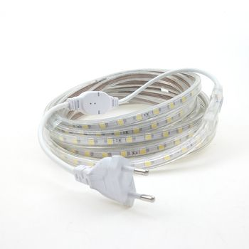 220 V LED Bande Lumière avec L'UE Plug 5050 Étanche Tiras Ruban 50 m 30 m 15 m 5 m 220 V Lampe Ruban ruban Bande Chaud Froid Blanc bleu