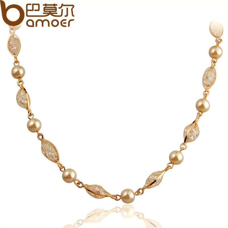 BAMOER Imitation Pearl Chain Necklace For Women Engagement Rose Gold Color Zircon Crystal High Quality Jewelry JSN049